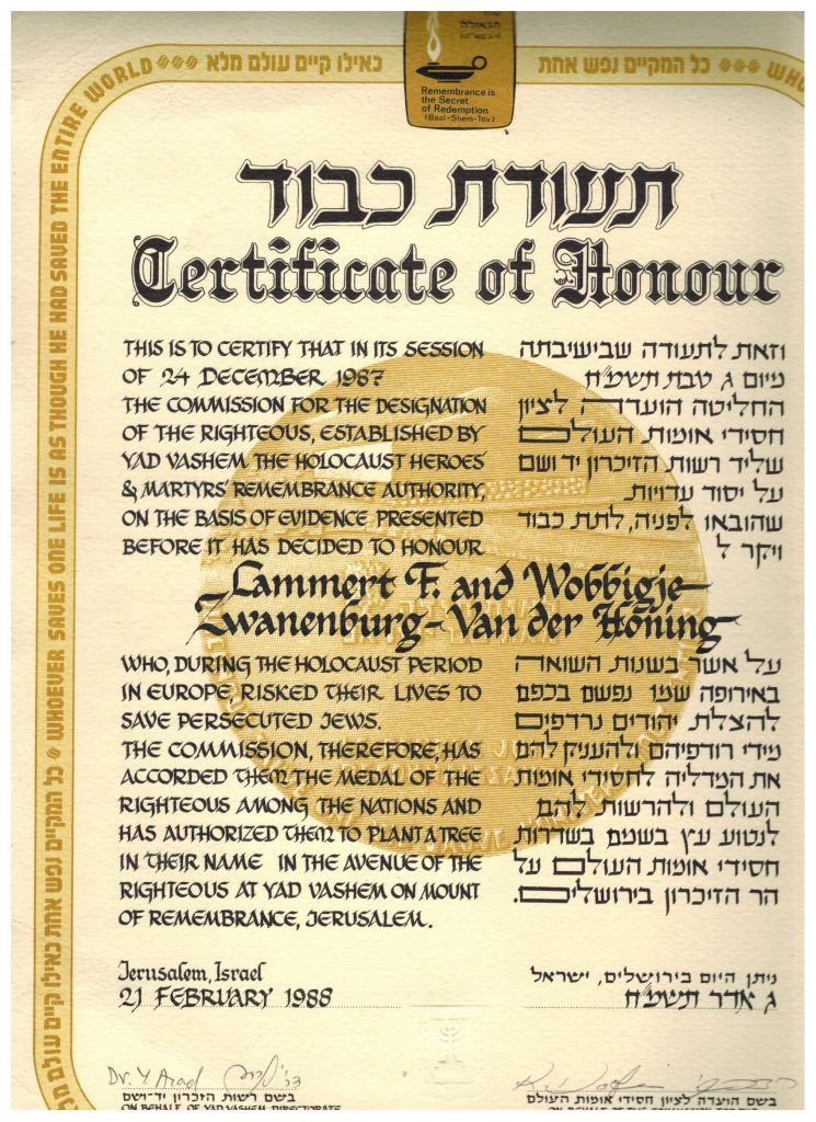 Certificaat of honor